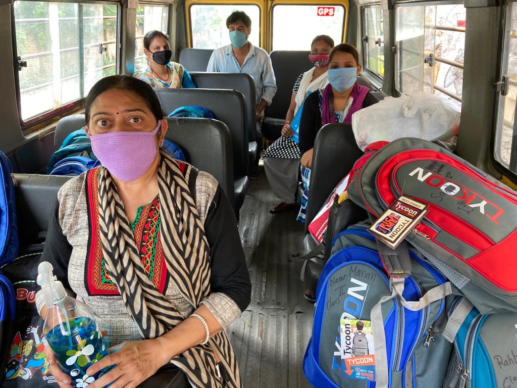 Leraren in bus